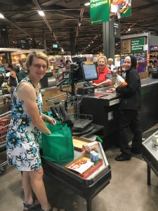 Volunteer Tricia and Sr Myree grocery shopping for Gethsemane's Christmas Project gift hampers