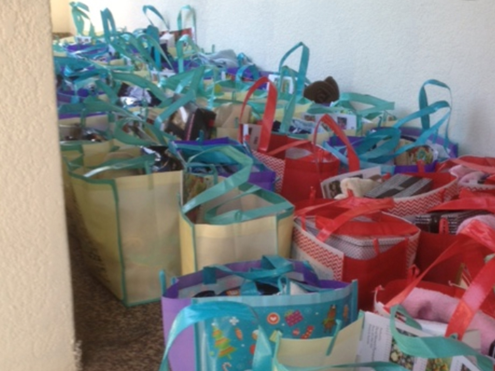 some of the many gift parcels made up for the Christmas Project